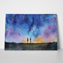 Watercolor starry night couple man giving rose 364031711 a
