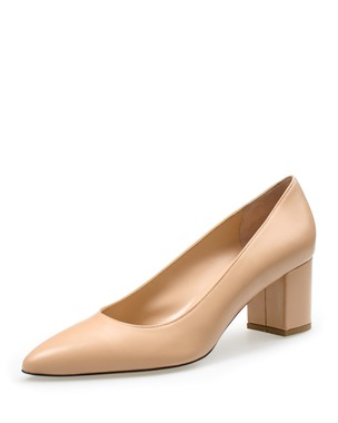 LEATHER PUMP POINTY, MEDIUM HEEL - ANASTAZI BOURNAZOS