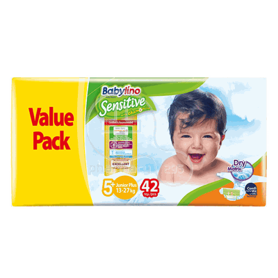 BABYLINO - VALUE PACK Babylino Sensitive Junior Plus No5+ (13-27 Kg) - 42 πάνες