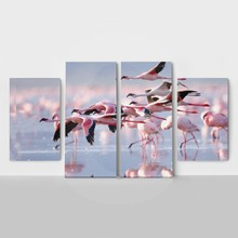 4panel flying flamingos