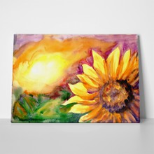 Watercolor painting sunflower field sunset 343026827 a