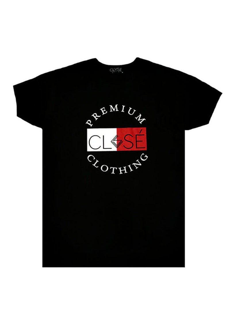 CLVSE SOCIETY BLACK T-SHIRT 505 HALF WHITE/RED