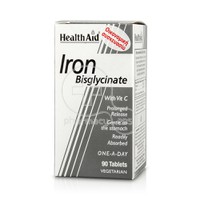 HEALTH AID - Iron Bisglycinate with Vitamin C - 90tabs