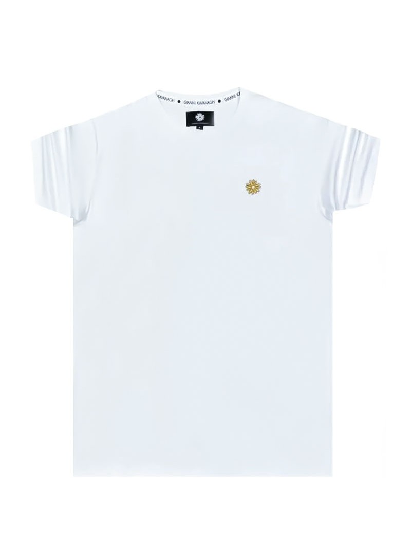 Gianni Kavanagh White Tee With Gold Lurex Embroidery