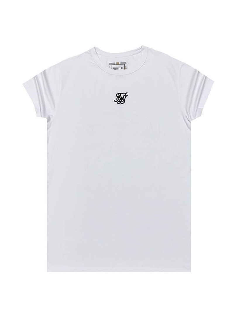 SikSilk S/S Reverse Collar Box Tee - White & Gold