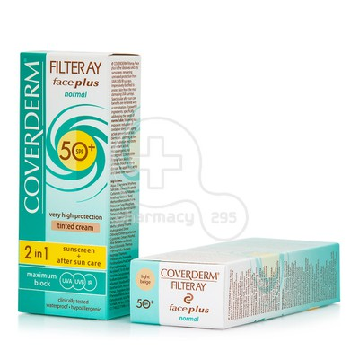 COVERDERM - FILTERAY Face Plus Normal Tinted Cream SPF50+ (Light Beige) - 50ml