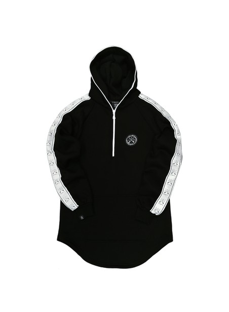 VINYL ART CLOTHING BLACK TAPED SIDE HOODIE WITH HALF-ZIP