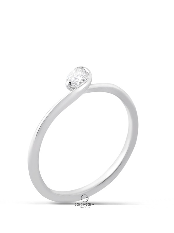 Solitaire Ring White Gold K18 with Diamond 0,15ct