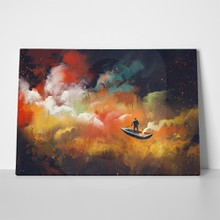 Man on boat in space 410445427 a