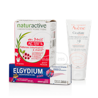 PIERRE FABRE - PROMO PACK NATURACTIVE ACTIV 4 Junior (14sachets), ELGYDIUM KIDS Οδοντόπαστα Gel Κόκκινα Φρούτα (50ml) & AVENE CICALFATE Creme Mains (100ml)