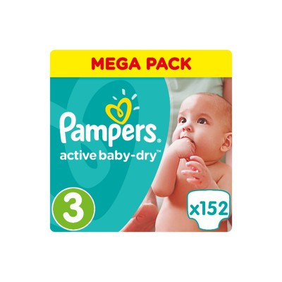 Pampers - Active Baby Dry Mega Pack No3 Midi (5-9 kg) Βρεφικές Πάνες - 152 τεμάχια