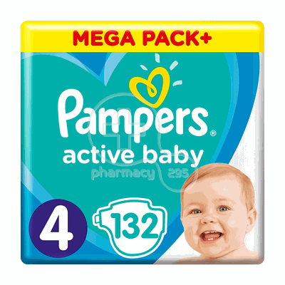 PAMPERS - MEGA PACK+ Active Baby Νο4 (9-14kg) - 132 πάνες
