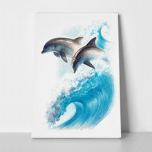 Dolphins on a wave drawing 446697499 a
