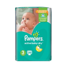 Pampers Active Baby Dry No3 5-10Kg  20Τμχ .