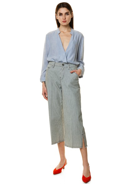 Stripped culotte trousers