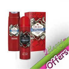 Old Spice Wolfthorn Deodorant Body Spray Αποσμητικό 150ml + Old Spice Wolfthorn Shower Gel Αφρόλουτρο για Άντρες 400ml + Old Spice Wolfthorn After Shave Lotion 100ml. Σετ ανδρικής περιποίησης.