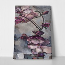 Oil painting purple magnolia vertical 596641133 a