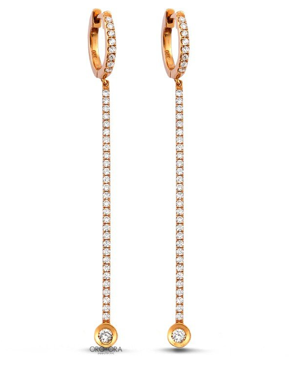 Earrings Rose Gold K18 with Diamonds