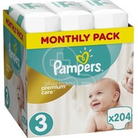 PAMPERS - MONTHLY PACK PREMIUM CARE No3 (5-9kg) - 204 πάνες
