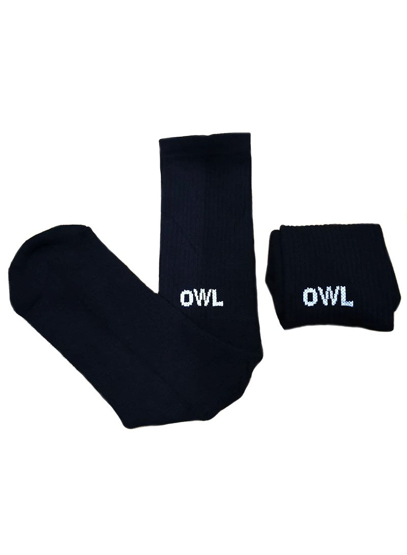 OWL CLOTHES MID SOCKS BLACK LOGO FUTURA OWL