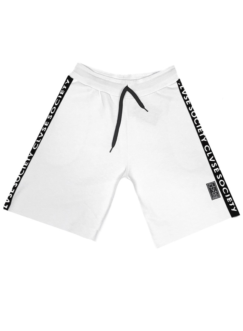 CLVSE SOCIETY WHITE SIDE LINE SHORTS