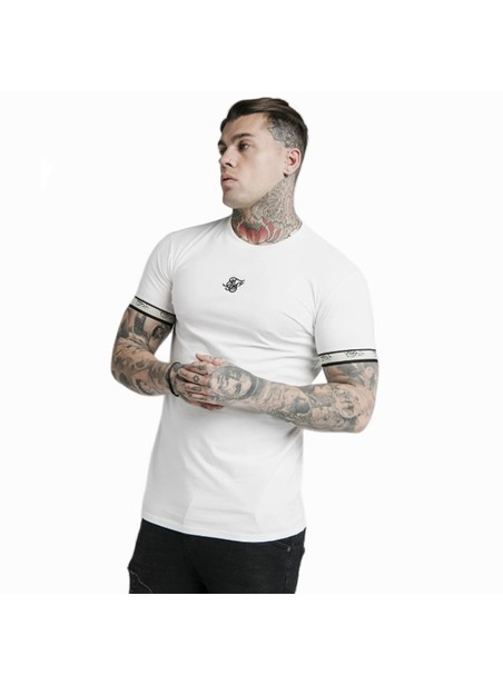 SikSilk S/S Premium Tape Gym Tee - Off White & Black