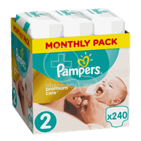 PAMPERS - MONTHLY PACK PREMIUM CARE New Baby No2 (3-6kg) - 240 πάνες