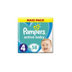 Pampers Active Baby Diapers Size 4 (9-14kg) 58 Diapers