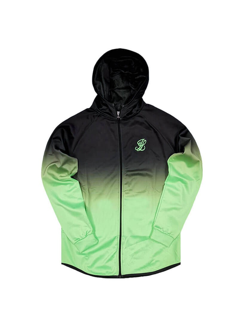 Illusive London Athlete Zip Through Hoodie – Black & Neon Green