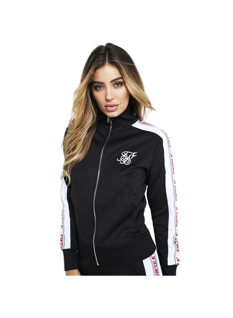SikSilk 90's Panel Poly Zip Track Top – Black, White & Red