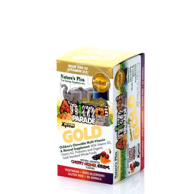 NATURE'S PLUS - SOURCE OF LIFE ANIMAL PARADE GOLD Multi Vitamin & Mineral (cherry, orange & grape) - 60chew.tabs