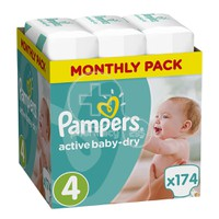 PAMPERS - MONTHLY PACK Active Baby Dry No4 (8-14kg) - 174 πάνες