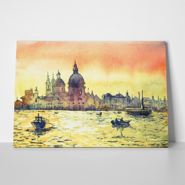 Venice watercolor painting yellow 477093064 a