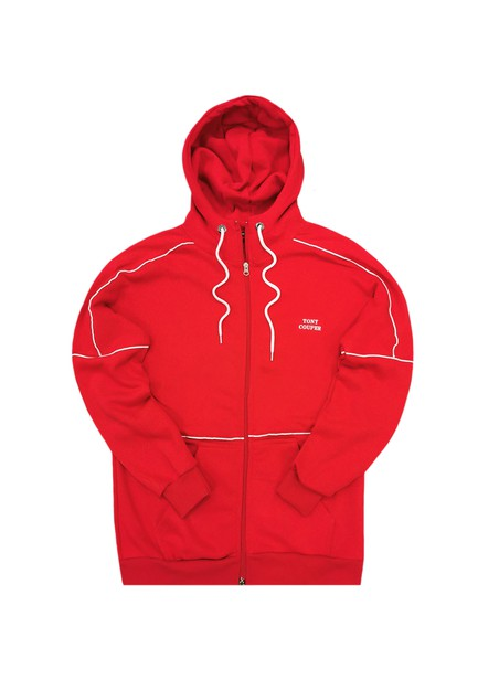 TONY COUPER RED BASIC ZIP THROUGH HOODIE