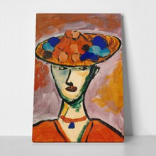 Abstract oil portrait lady with hut 83086039 a