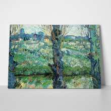 Van gogh   orchard in blossom with view of arles a