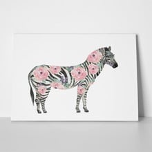 Watercolor painting floral zebra 518783185 a
