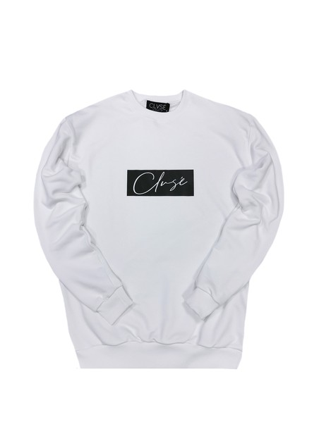 CLVSE SOCIETY WHITE CREW NECK WITH BLACK LOGO