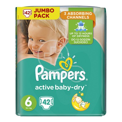 PAMPERS - JUMBO PACK Active Baby Dry No6 (15+kg) - 42 πάνες
