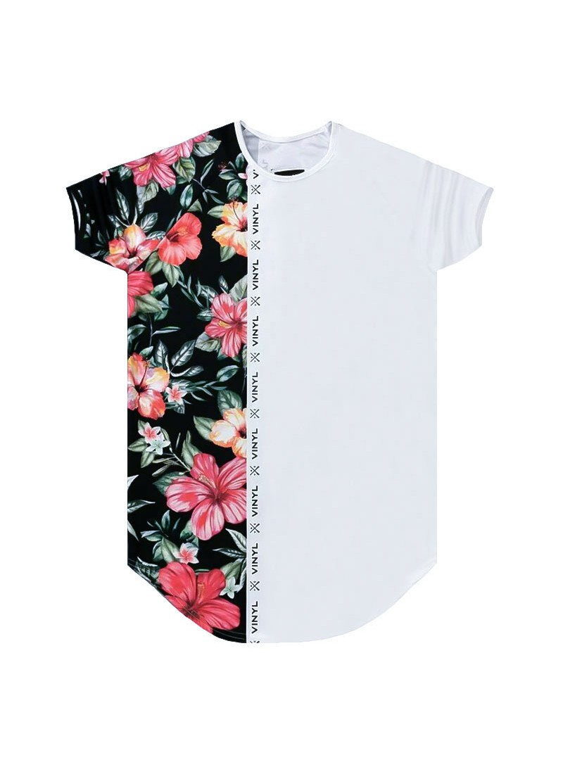 VINYL ART CLOTHING T-SHIRT HALF FLORAL PRINT