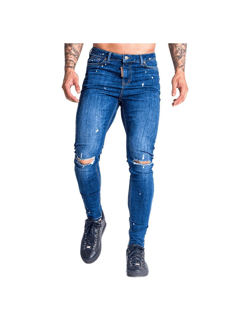 Gianni Kavanagh Medium Blue Jeans With White Splashes