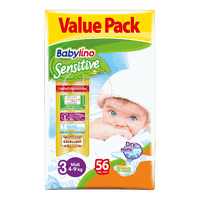 BABYLINO - VALUE PACK Babylino Sensitive Midi No3 (4-9 Kg) - 56 πάνες