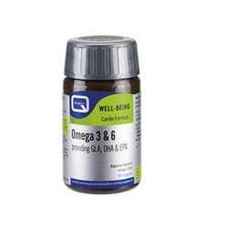 Quest OMEGA 3 & 6 providing GLA, DHA & EPA plus natural vitamin E 30 caps