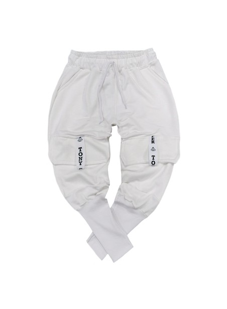 TONY COUPER WHITE POCKET TRACKPANTS