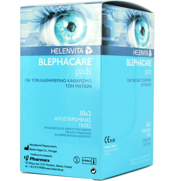 BLEPHACARE PADS,  Αποστειρωμένες Γάζες για Καθαρισμό Ματιών (2X30)