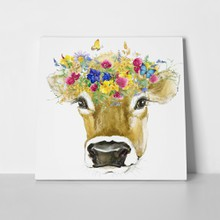 Cow with flowers painting 397883638 a