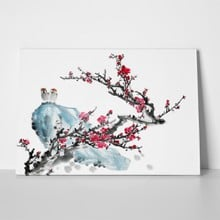 Plum blossom two birds traditional chinese 100472128 a