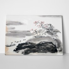Chinese landscape painting pink flower 140199049 a