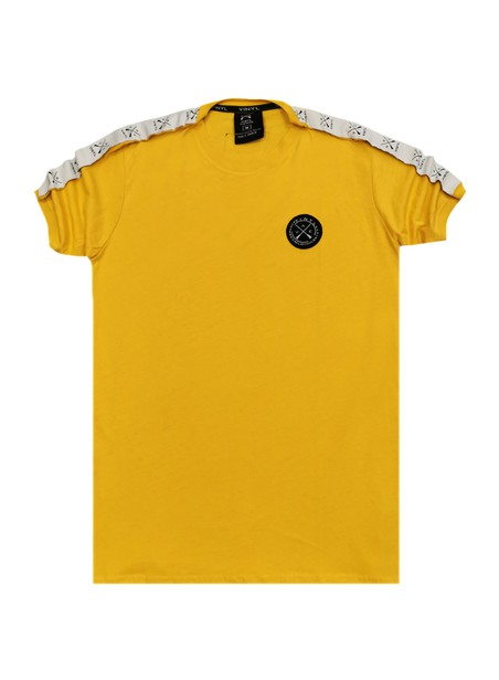 VINYL ART CLOTHING YELLOW T-SHIRT WITH LOGO TAPING