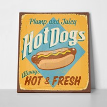 Retro sign hot dog a